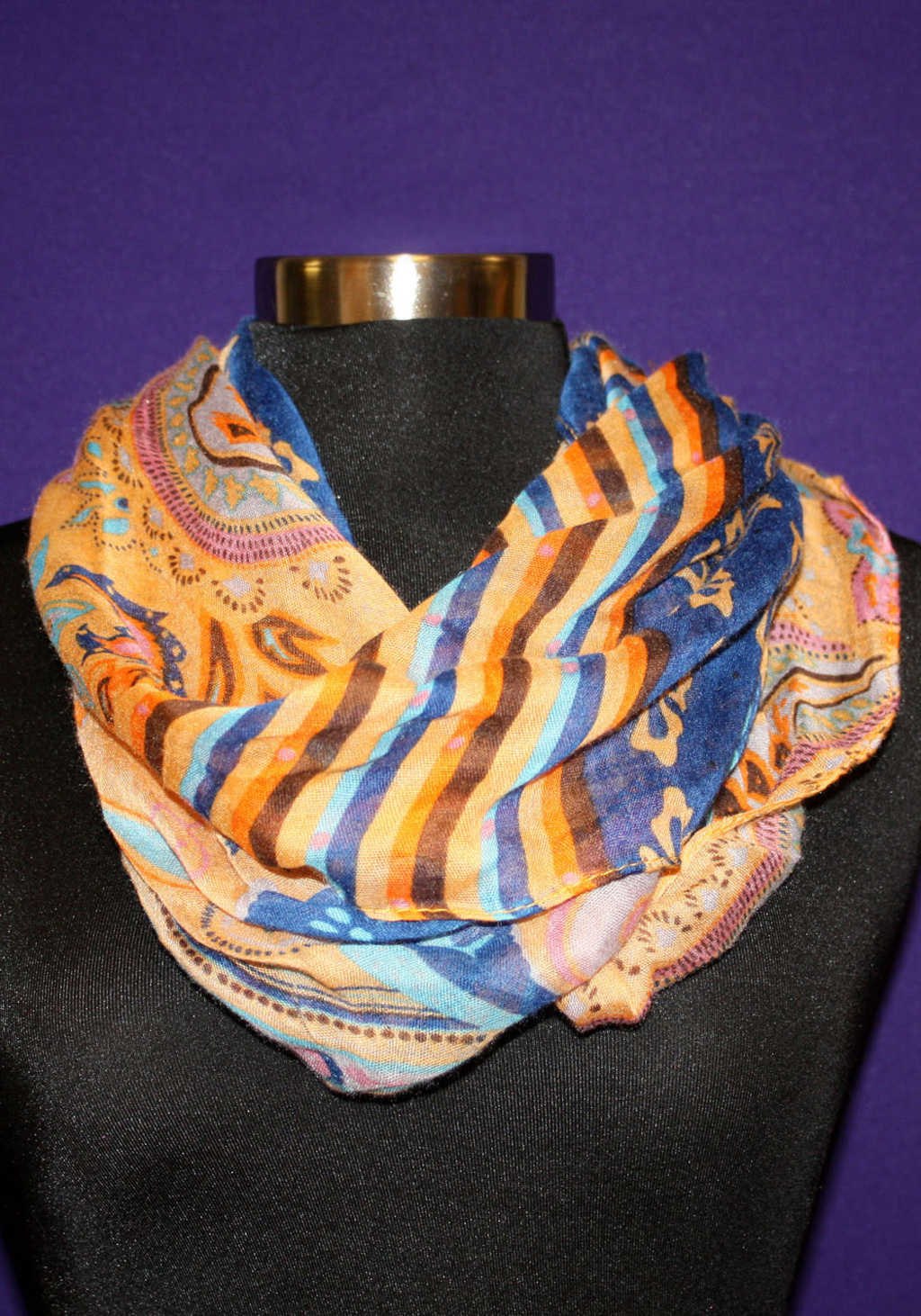 Orange and Blue Patterned Scarf available at Mon General Hospital Apparel Gift Shop