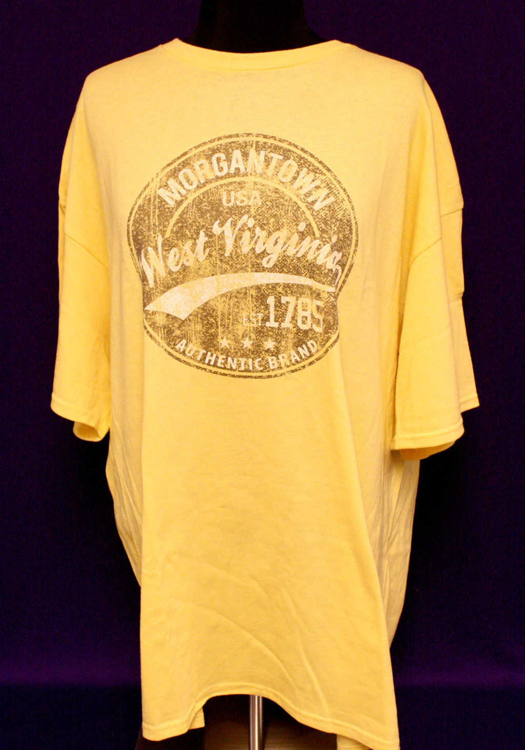 Gold Morgantown West Virginia T-Shirt with circle emblem available at Mon General Hospital Apparel Gift Shop