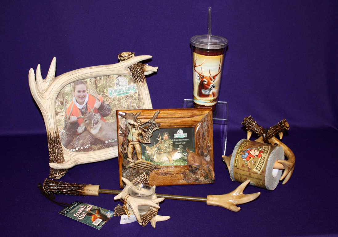 Home accents such as a picture frame, mug and tumbler cup in deer theme availabel at Mon General Hospital Gift Shop