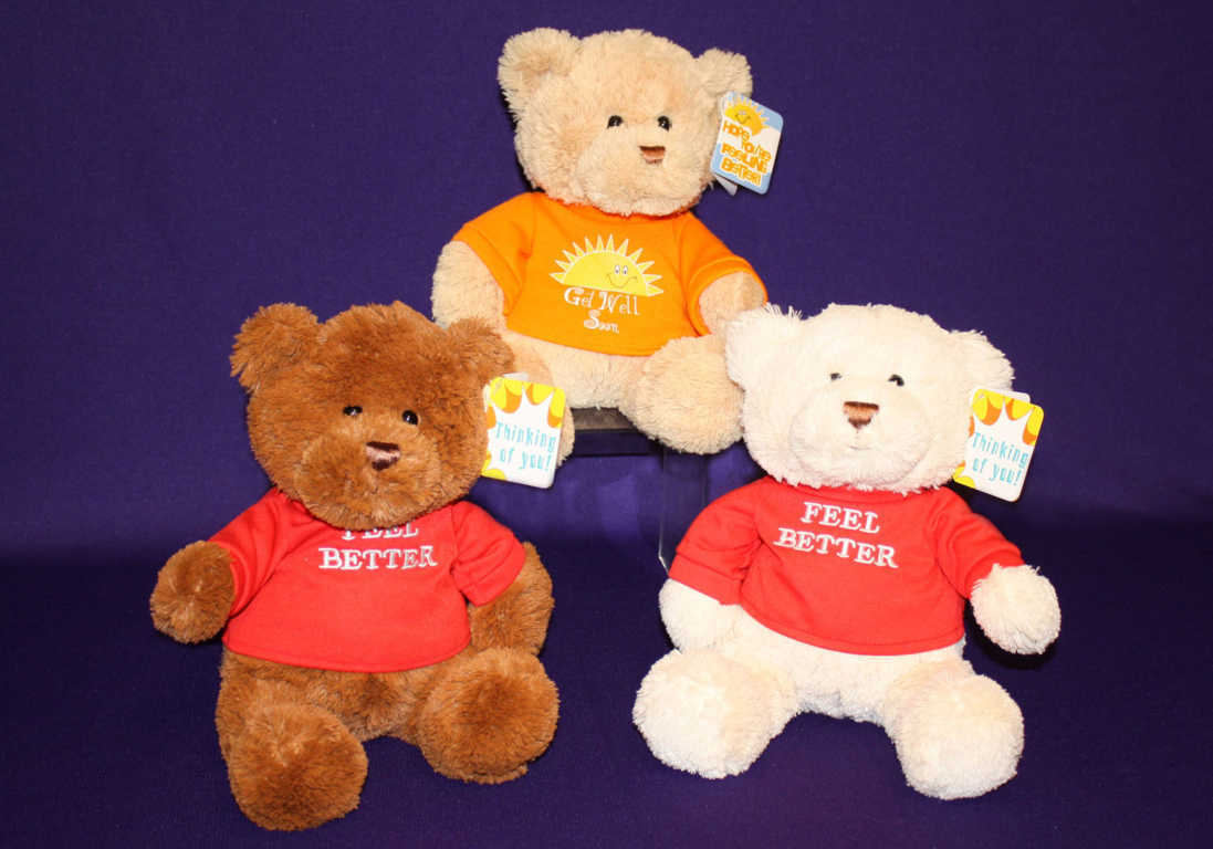 Plush Bears with Red Shirts saying Feel Better Available at Mon General Hospital Gift Shop