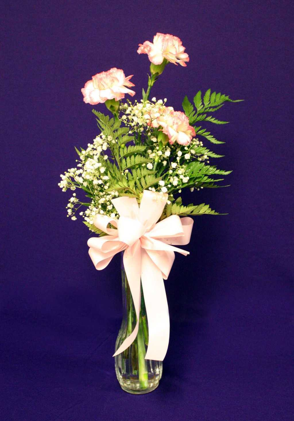 Pink Carnations with Pink Ribbon Floral Arrangement from Mon General Hospital Gift Shop